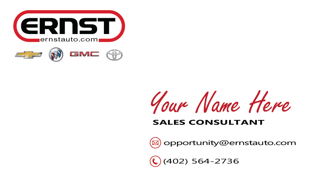 Ernst Auto Group Sales Consultant Business Card Prototype